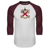 White/Maroon Raglan Baseball T Shirt-Crest