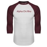 White/Maroon Raglan Baseball T Shirt-Alpha Chi Rho