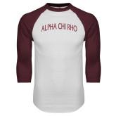White/Maroon Raglan Baseball T Shirt-Alpha Chi Rho Arched