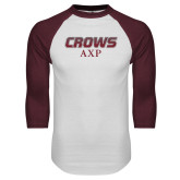White/Maroon Raglan Baseball T Shirt-Crows AXP