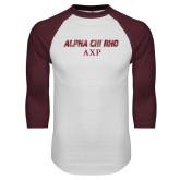 White/Maroon Raglan Baseball T Shirt-Alpha Chi Rho AXP