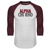 White/Maroon Raglan Baseball T Shirt-Alpha Chi Rho with shield