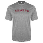 Performance Grey Heather Contender Tee-Alpha Chi Rho Arched