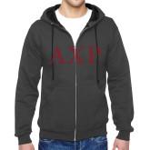 Charcoal Fleece Full Zip Hoodie-AXP