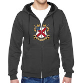 Charcoal Fleece Full Zip Hoodie-Crest
