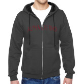 Charcoal Fleece Full Zip Hoodie-Alpha Chi Rho Arched