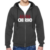 Charcoal Fleece Full Zip Hoodie-Alpha Chi Rho with shield