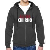 Charcoal Fleece Full Zip Hoodie-Alpha Chi Rho with shield