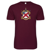 Next Level SoftStyle Maroon T Shirt-Crest