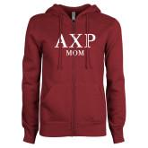 ENZA Ladies Maroon Fleece Full Zip Hoodie-Mom