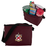 Six Pack Maroon Cooler-Crest