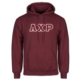 Maroon Fleece Hoodie-Greek Letters in Tackle Twill