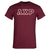Maroon T Shirt-Greek Letters in Tackle Twill