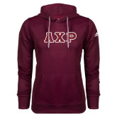 Adidas Climawarm Maroon Team Issue Hoodie-Greek Letters in Tackle Twill