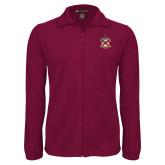 Fleece Full Zip Maroon Jacket-Crest