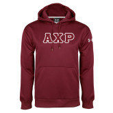 Under Armour Maroon Performance Sweats Team Hood-Greek Letters in Tackle Twill