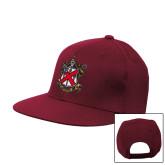 Maroon Flat Bill Snapback Hat-Crest