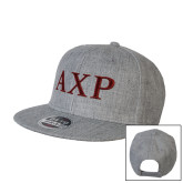 Heather Grey Wool Blend Flat Bill Snapback Hat-AXP