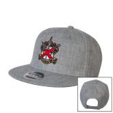 Heather Grey Wool Blend Flat Bill Snapback Hat-Crest