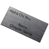 Brushed Silver w/ Black Name Badge-Alpha Chi Rho Engraved
