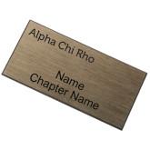 Brushed Gold w/ Black Name Badge-Alpha Chi Rho Engraved