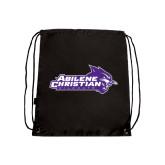 ACU Wildcat Black Drawstring Backpack-Primary Logo