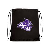 Black Drawstring Backpack-Angled ACU w/Wildcat Head