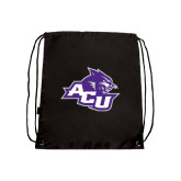 ACU Wildcat Black Drawstring Backpack-Angled ACU w/Wildcat Head