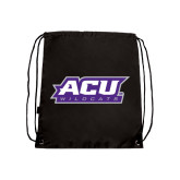 Black Drawstring Backpack-ACU Wildcats
