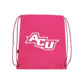 Pink Drawstring Backpack-Angled ACU