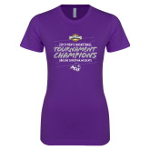 Next Level Ladies SoftStyle Junior Fitted Purple Tee-2019 Southern Conference Mens Basketball Champions