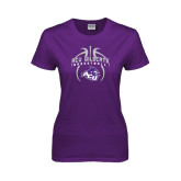 Ladies Purple T Shirt-Design On Basketball