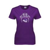 Ladies Purple T Shirt-Design On Basketball