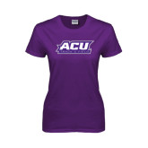 ACU Wildcat Ladies Purple T Shirt-Track & Field
