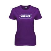 ACU Wildcat Ladies Purple T Shirt-Track & Field