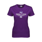 Ladies Purple T Shirt-Track and Field Shoe Design