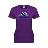 Ladies Purple T Shirt-Track and Field Side Shoe Design