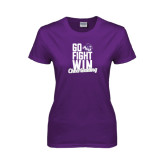 ACU Wildcat Ladies Purple T Shirt-Go Fight Win