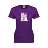 ACU Wildcat Ladies Purple T Shirt-Go Fight Win