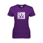 ACU Wildcat Ladies Purple T Shirt-Cheer, Cheer, Cheer