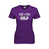 ACU Wildcat Ladies Purple T Shirt-Tee Off Golf Design