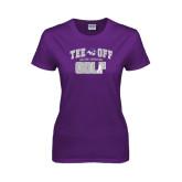 ACU Wildcat Ladies Purple T Shirt-Tee Off Golf Design