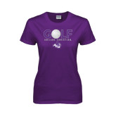 ACU Wildcat Ladies Purple T Shirt-Golf Ball Design