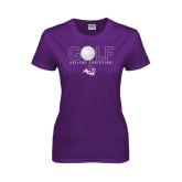 ACU Wildcat Ladies Purple T Shirt-Golf Ball Design