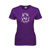 ACU Wildcat Ladies Purple T Shirt-Soccer Ball Design