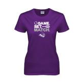 ACU Wildcat Ladies Purple T Shirt-Game Set Match Tennis Design