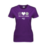 Ladies Purple T Shirt-Peace, Love and Volleyball Design
