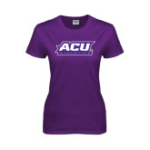 ACU Wildcat Ladies Purple T Shirt-Athletics