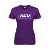 ACU Wildcat Ladies Purple T Shirt-Athletics