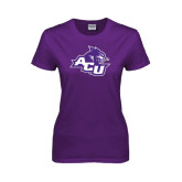 Ladies Purple T Shirt-Angled ACU w/Wildcat Head